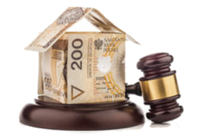 casa-del-dinero-y-mazo-del-juez-aislado